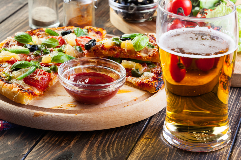 View Of Pizza And Drinks